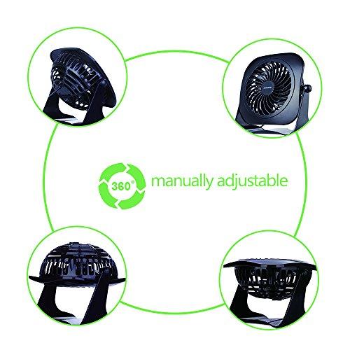 Desk Personal Fan USB Table Portable Fan(2 Speed, 4 Inch,Quietness)(Black) by SENPAIC (Image #4)