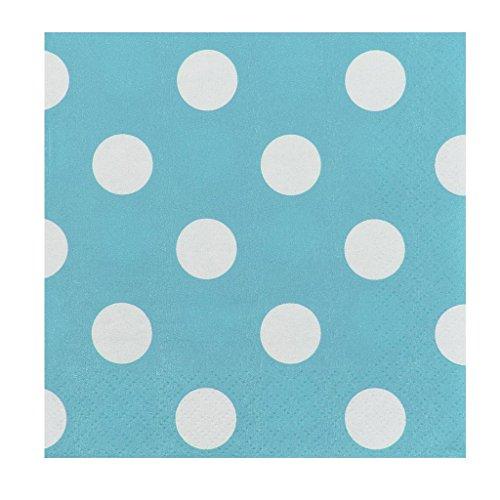 JAM PAPER Small Polka Dot Beverage Napkins - 5 x 5 - Caribbean Blue with Polka Dots - 16/Pack