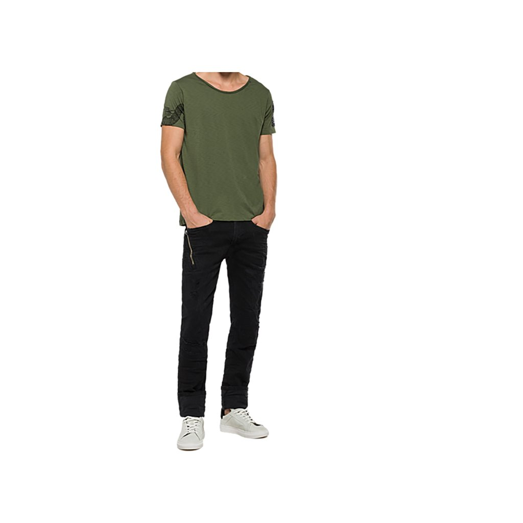 huge discount 8cdba a8e86 Replay Men's Distressed Men's Sage Green T-Shirt in Size L ...