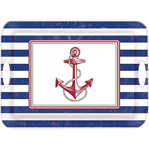 Amscan Anchor's Aweigh Nautical Party Melamine Handle Tray (1Piece), Multicolor, 14 3/4 x 19 4/5
