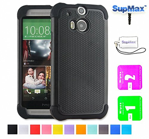 HTC One M8 Case,Htc M8 Case,SupMax™ *New Style* *Silicone+PC* [Full-Body Protection] [Scratchproof] [Shock proof] [Drop proof] Impact Resistant Hard Shell Case Cover Dual Layer With Upscale Silicone Shock Absorbent [Gifts(SupMax brand)Dust plug+Screen wipes+Phone Chain ] for HTC One M8 -Multi colors (Htc One M8, Black)