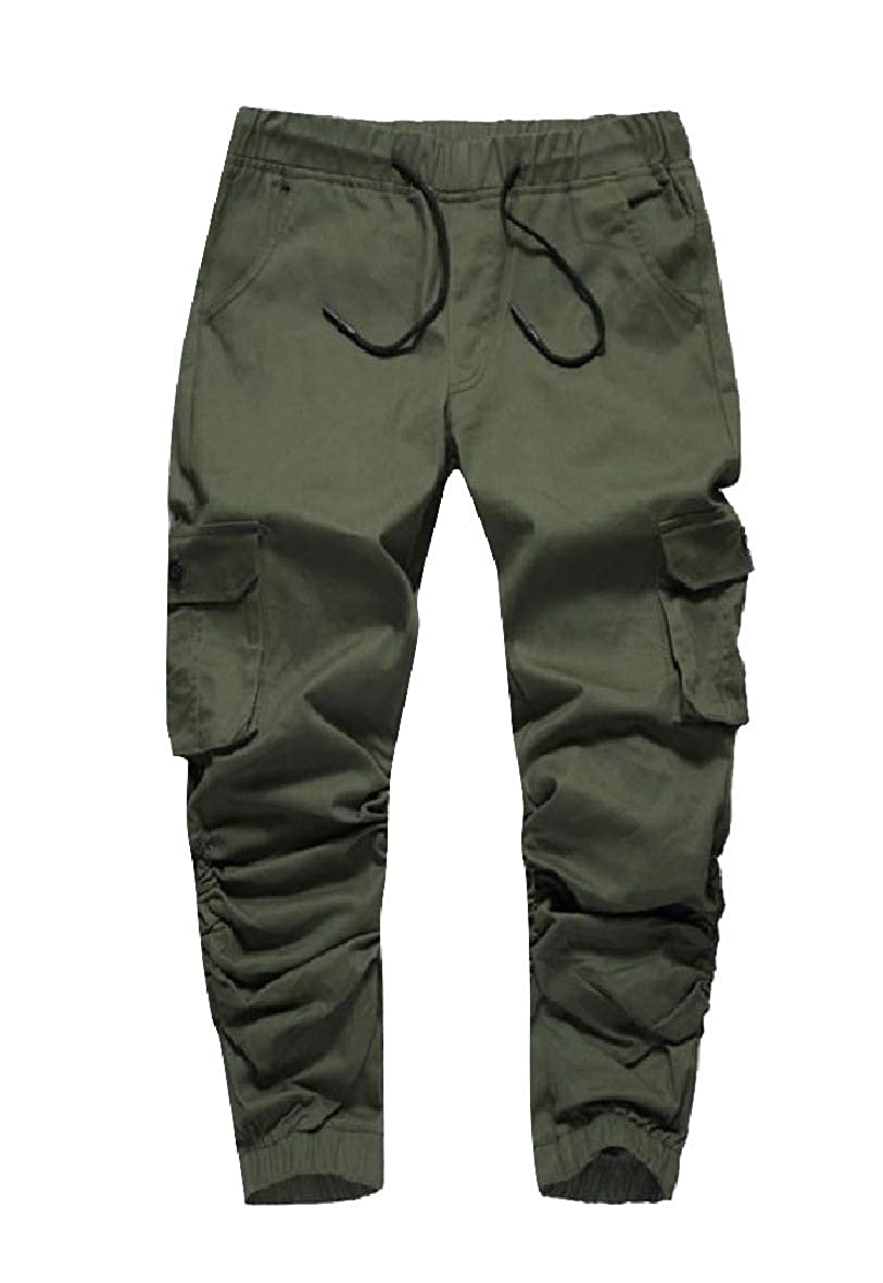 Andopa Men Drawstring Dungarees Relaxed Outwear Cargo Twill Jogger Pants