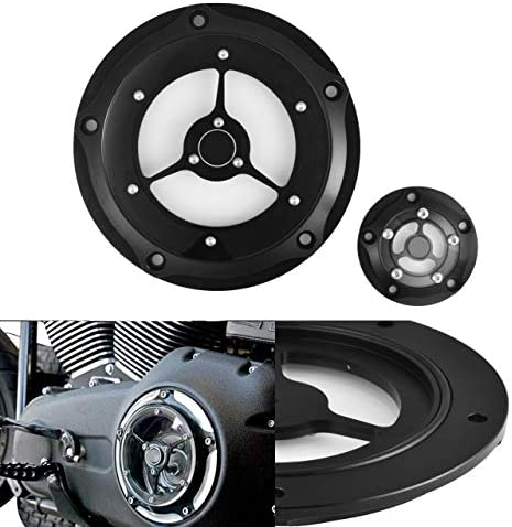 Senkauto Black Clarity Edge Deep Cut Derby Timer Cover for Harley 1999-2014 Harley Twin Cam Touring Road King Electra Glide FLHR FLHX FXST Dyna