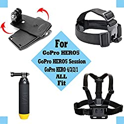 Black Pro Basic Common Outdoor Sports Kit For Gopro Hero 6 Gopro Fusionhero 5session5 4 3+ 3 2 1 Sj4000 5000 6000 Akaso Apeman Dbpower & Sony Sports Dv & More 8