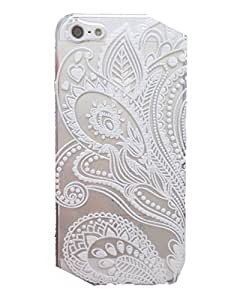 iPhone 5C Case, Wendy's StoresTM Clear Plastic Case Cover for Apple Iphone 5C (Henna White Floral Paisley Flower Mandala) by ruishername