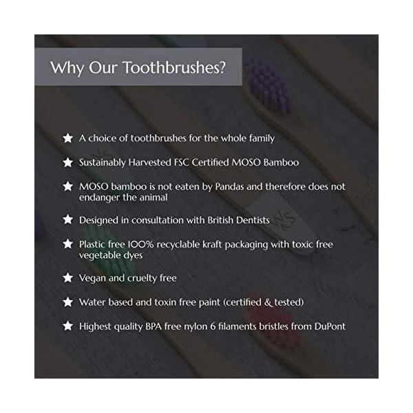 Brosse à dents en bambou pour enfants organique | Quatre couleurs | Soies de fibres douces | Poignée 100% biodégradable…