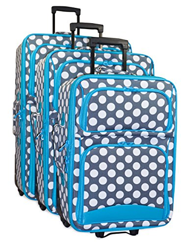 Ever Moda Polka Dot Luggage Set (Polka Dot - Teal Blue Grey) by Ever Moda