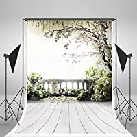 5x7ft Digital Photography Backdrops Brick Floor White Flowers Background Natural Scenery For wedding Photo Studio Backdrop