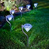 Quace Set Of 5 Garden Black Solar Lights For Pathway Ambient Lighting Yellow LED