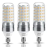 LOHAS LED Candelabra Bulb 100W Equivalent, Light Bulbs E12 Base (12W), 2700K Warm White, 1100LM, LED Corn Bulb for Ceiling Fans Light, Non Dimmable(3 Pack)
