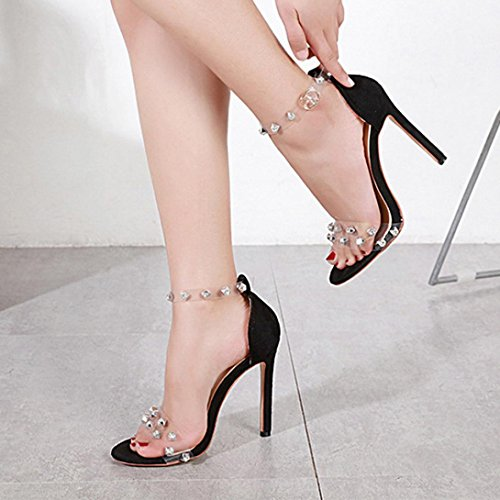 High Lolittas Fit Size Evening Leather Sparkly Heel Womens Court Bling 2 Black Wide Peep Diamante Wedding Sandals Stiletto Toe Summer Giltter Black 8 Shoes rUSrI6qw