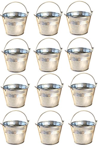 Miniature Metal Galvanized Pails Set
