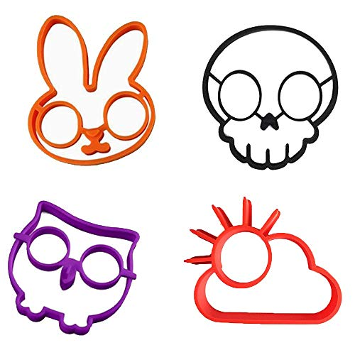 (Set of 4)Silicone Fried Egg Mold Pancake Rings/ Fried Eggs tools , Non Stick Bakeware Accessories Kitchen Tools Halloween breakfastBy Palker sky -