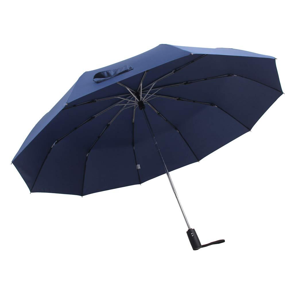 FABBD Grande Paraguas 10 Aluminio Hueso Paraguas Plegable,210T Impermeable Tela Automático Cambiar Negro Azul El Golf Exclusión A Prueba De Viento Viaje ...