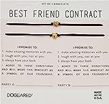 Dogeared Women's Best Friend Contract, Set of 2 Heart Bracelets Gold One Size