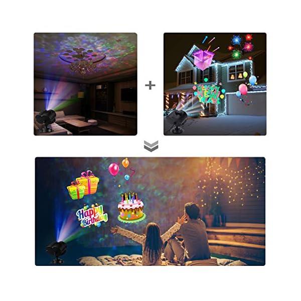 Natale Halloween Lampada per Proiettore LED, 20 Modelli ALED LIGHT Luce per Proiettore Impermeabile con Motivo a Onde d'Acqua con Telecomando Decorazione di illuminazione Festa Natale Interno Esterno 5 spesavip