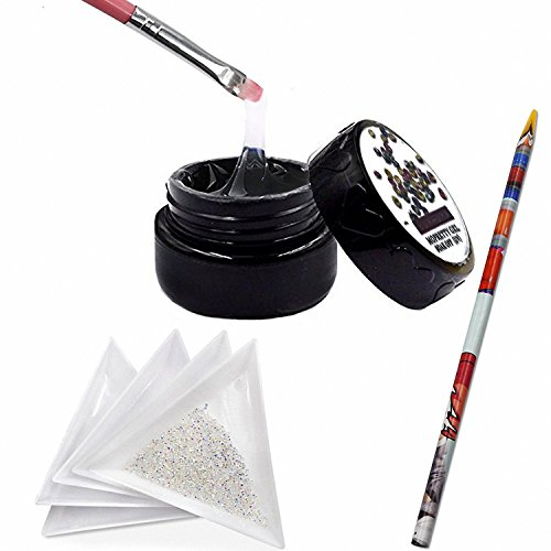 MOPRETTY Nail Art Sticker And 1440Pcs Mini Diamond Shining DIY Rhinestones with 5 Pcs White Triangular Plate Container + 1Pc Wax Pen +1Pc Painting Pen by MOPRETTY