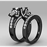 Fashion White Amethyst Black Gold Filled Wedding Bridal Ring Gift Size 6-10 (8)