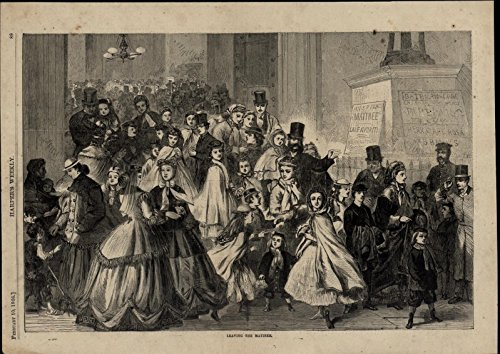 (Crowd Exiting Theater Fashion Leisure Entertainment 1866 great antique print)