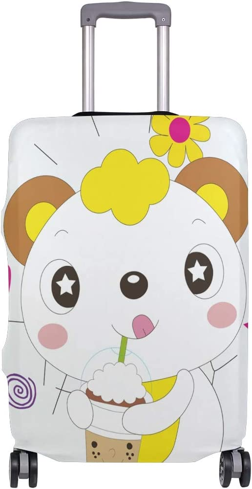 Travel Luggage Cover Cartoon Cat Ice Cream Suitcase Protector Baggage Case Dustproof Stretchy Fits 26-28 Inch