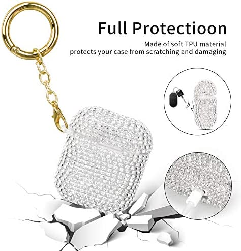 Case for Airpods, Filoto Cute AirPod Accessories Cases Cover Bling Crystal TPU Protective Case with Lobster Clasp Keychain for Apple Air Pods 2&1 Charging Case, Best Gift for Women Girls (Silver) 51Wb6Ro0iVL
