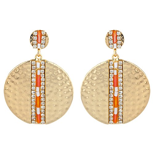 Lux Accessories Gold Tone Orange Beaded Hammered Circle Statement Earrings
