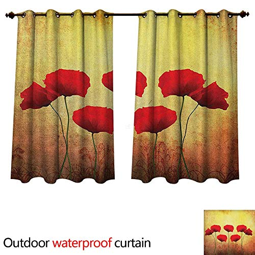 (Poppy Home Patio Outdoor Curtain Poppies on Old Aged Retro Featured Backdrop Design Past Days Drama Petals W108 x L72(274cm x 183cm))