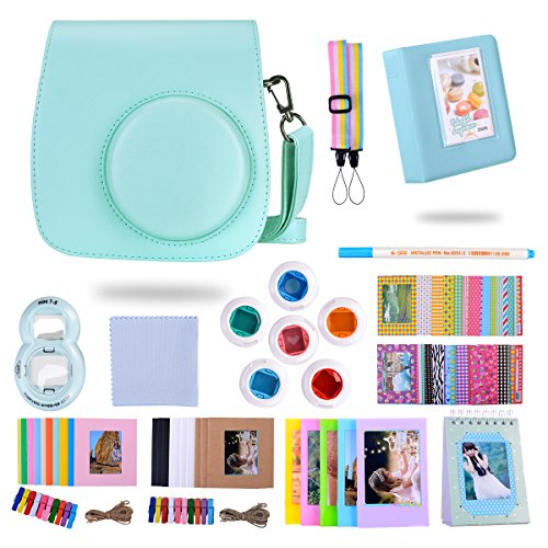 Frame Blue Ice Lens - Famall 13 in 1 Instax Mini 9 Camera Accessories Bundles for FujiFilm Instax Mini 9 8 8+ Camera with Mini 9 Case/Album/Selfie Lens/Filters/Wall Hang Frames/Film Frames/Border Stickers/Pen(Ice Blue)