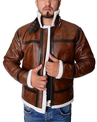 en's Shearling Bomber Brown Leather Jacket (Medium, Brown) (Faux Shearling Bomber Jacket)