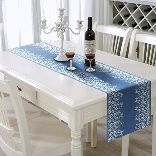 AAYU Blue Denim Table Runners Limited and Rare Edition/Bed Runner with White Floral Embroidery on Both Edges | 14 Inch X 72 Premium Quality Perfect for Wedding, Parties, Daily Décor