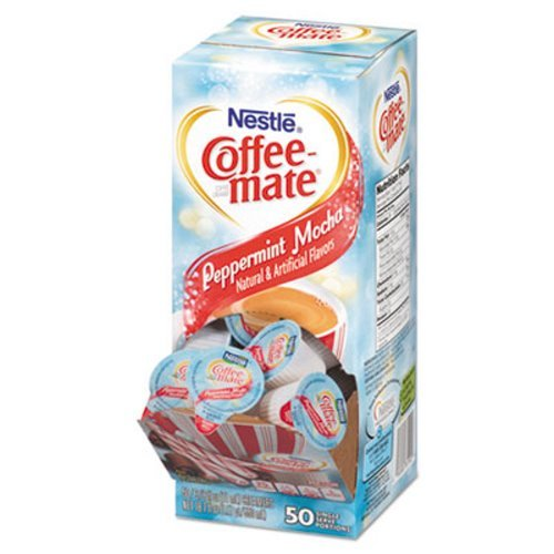 Liquid Coffee Creamer, Peppermint Mocha, 0.375 Oz Mini Cups, 50/box, 4/carton