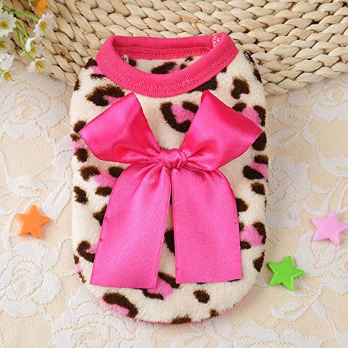 FairOnly XXXS/XXS/XS/S Spring Fashion Cute Teacup Dog Clothes Puppy Vest Coral Soft Leopard Baby Pet Dogs Clothing Chihuahua Apparel Pink Leopard Size 4 (Teacup Dog Pet Apparel)