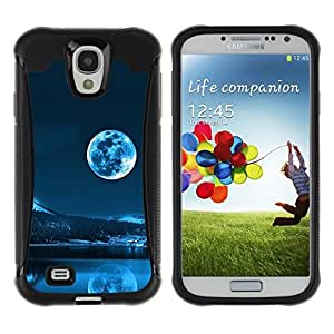 LASTONE PHONE CASE / Suave Silicona Caso Carcasa de Caucho Funda para Samsung Galaxy S4 I9500 / Blue Moon Evening Sky Winter Mountains Snow