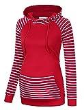 MissQee Women's Cowl Neck Pullover Hoodies Long Sleeve Kangaroo Pocket Spliced Striped Hooded Sweatshirts Burgundy L