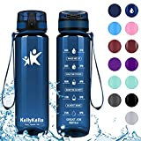 KollyKolla Sports Water Bottles 32oz/1L,27oz,17oz,12oz,Reusable Plastic Water Bottle with Time Marker and Filter