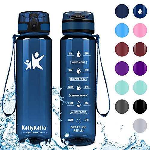 KollyKolla Water Bottle Kids, Opens with 1-Click Flip Top Leak-Proof Lid, BPA Free Tritan Drinks Bottle, Reusable Water Bottles with Filter, for Sports, Outdoors, Gym, Yoga, (1L Matte Emerald)