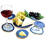 Unique & Elegant Wine & Cheese Serving Set - Authentic Brazilian Agate 24K Gold Plated Platter (6.5''-7'') with 6 Matching Coasters (4''-4.5'') Rubber Bumpers & Authenticity Card Included (BLUE)