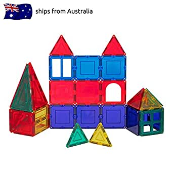 Magnetic Tiles 32 Pc Construction Set - Educational Building Blocks For Kids - Multiple Shapes And Colours For Imaginative, Creative Play - Recommended For Children over 3 Years - High Quality Magnets - Safety Certified