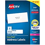 "Avery Address Labels with Sure Feed for Laser Printers, 1"" x 4"", 2,000 Labels, Permanent Adhesive (5161), White"