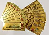 10pcs Set 24K $100 US Gold Banknotes Dollar Currency World Banknote Replica Paper Money Collectible Gifts
