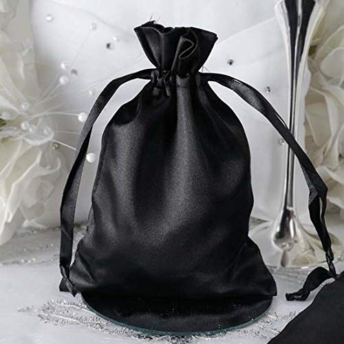 Efavormart 60PCS Black Satin Gift Bag Drawstring Pouch Wedding Favors Bridal Shower Candy Jewelry Bags - 5