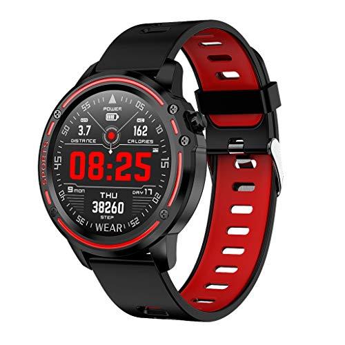 FILOL L8 IP68 Waterproof Smart Watch, Multi Function Sport Digital Chronograph Heart Rate Blood Pressure Sleep Monitoring Electronic Watch (Red)