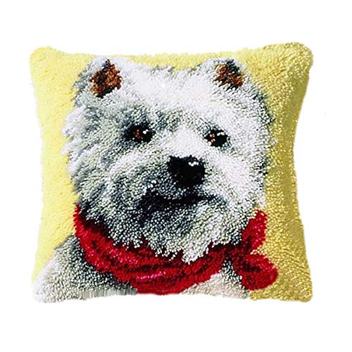 Classics Hook Latch Kit (BYT Collections 16 Model Latch Hook Kit Dog Cushion Cover DIY Craft Needlework Crocheting Cushion Embroidery 16inch by 16 inch BZ815)