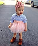 Kehen Fashion Toddler Baby Girls 2pcs Button Down Blue Stripes T-Shirt Tops + Bows Tutu Skirt