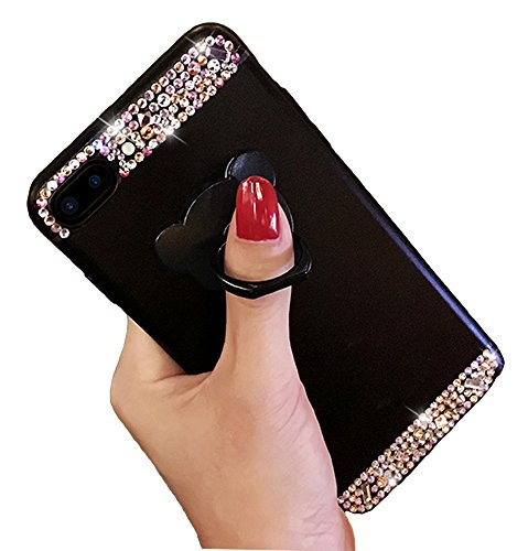 iPhone 7 Plus Bling Case, Smooth Soft-Touch Luxury Crystal Rhinestone Matte Frosted Hard Shell Case Cover with Bear Ring Stand Holder Glitter Makeup Case for Girls (iPhone 7 Plus, (Rhinestone Bling Hard Case)
