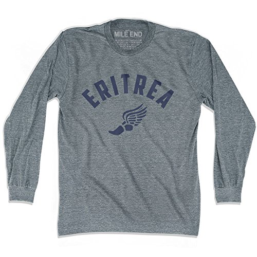 - Eritrea Track Long Sleeve T-shirt, Athletic Grey, Adult Medium