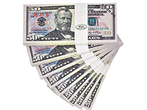 WLIFE Play Money Copy Money $5000,Movie Prop Money Full Print 2 Sided $50 Dollar Bills Money Stacks,Fake Money That Looks Real,New Published Thickening Movies,TV,Videos,Advertising,Play