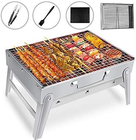 Grill Barbecue à Charbon De Table Fumoir Acier Inoxydable