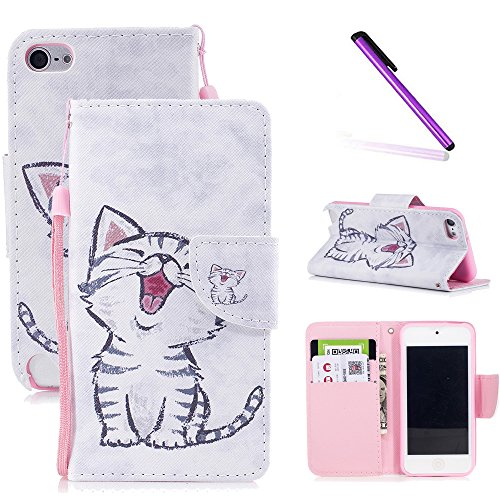 iPod Touch 6th Case,iPod Touch 5th Case,LEECOCO Fancy Print Floral Wallet Case with Card / Cash Slots [Kickstand] PU Leather Folio Flip Protective Case Cover for iPod Touch 6th / 5th Smile Cat ()