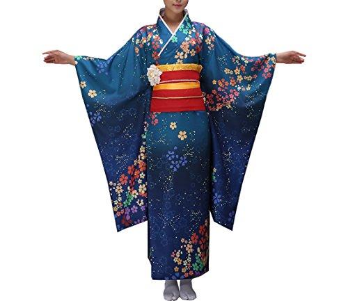 Imprimé taille De Multicolore Acvip Robe Femme Unique Motif Bain Japonais Elégant Foncé Peignoir Bleu Long Kimono 4xCRzwpq